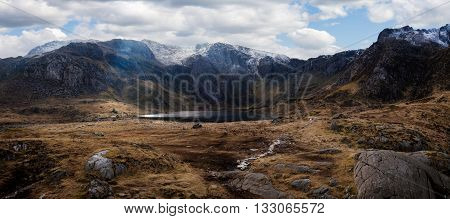 Cwm Idwal is a spectacular hanging valley in the Glyderau mountains sculpted by glacial ice thousands of years ago in the northern Snowdonia national Park Wales.