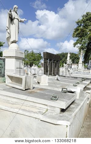 HAVANA - NOVEMBER 29: The Colon Cemetery in Vedado on 29 November 2015 in Havana, Cuba. Colon Cemetery is the 5th most important historical cemetery of the world.