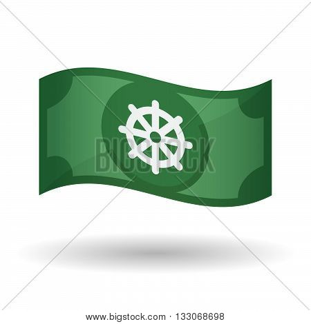 Illustration Of A Waving Bank Note With A Dharma Chakra Sign
