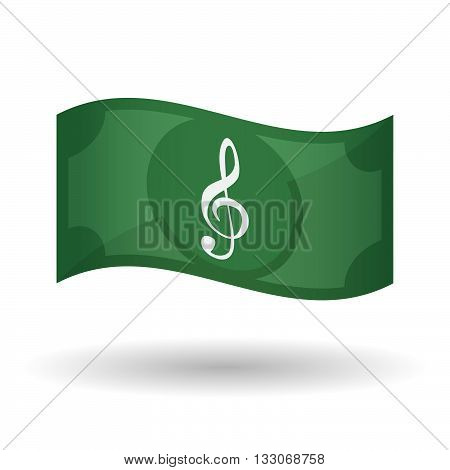 Illustration Of A Waving Bank Note With A G Clef