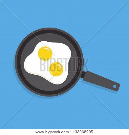 Scrambled eggs vector illustration in flat style. Fried egg in a frying pan. Scrambled eggs isolated on a colored background. Cooking omelet. Scrambled eggs with the top view.