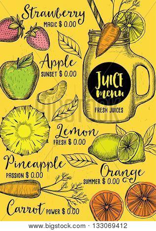Juice menu placemat drink restaurant brochure dessert template design. Vintage creative beverage template with hand-drawn graphic. Vector food menu flyer. Gourmet menu board.