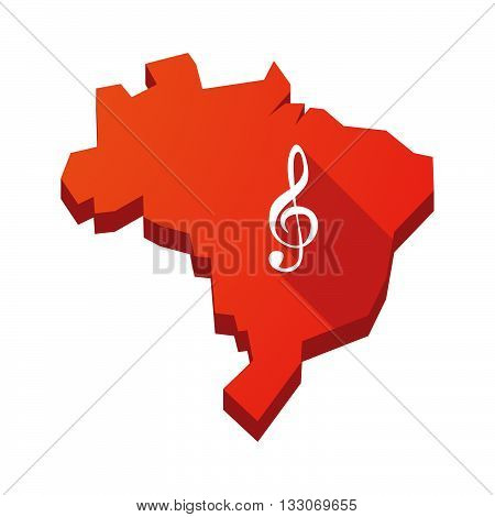 Illustration Of An Isolated Brazil Map With A G Clef