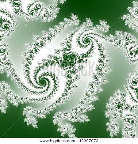Elegant Double Spiral in Green and White