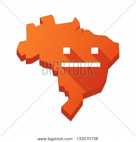 Illustration Of An Isolated Brazil Map With A Emotionless Text Face