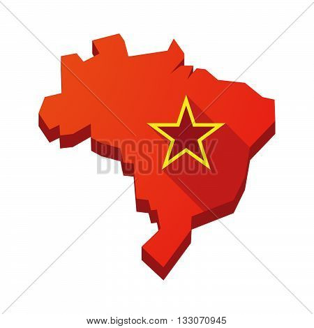 Illustration Of An Isolated Brazil Map With  The Red Star Of Communism Icon