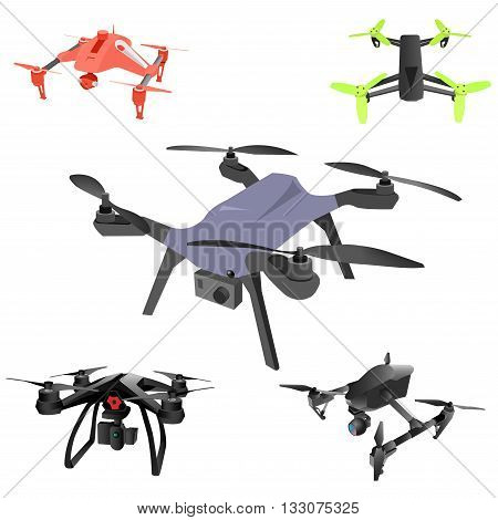 Set of cartoon drones. Isometric. Vector illustration. Abstract.