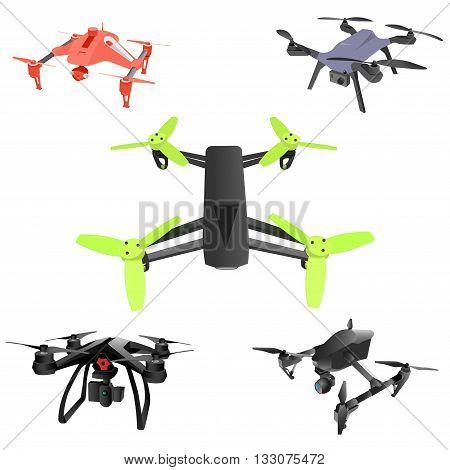 Set of cartoon drones. Isometric. Vector illustration.