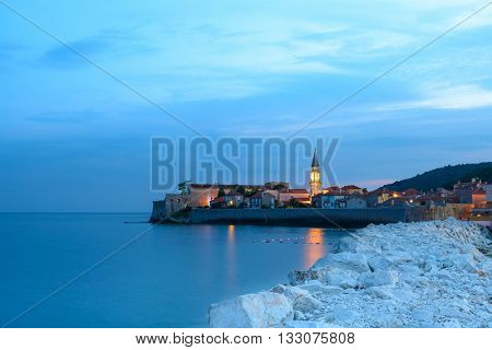 Mistery Evening in Old Town of Budva. Montenegro, Balkans, Europe. Budva - One of the Most Popular Resorts of Adriatic Riviera of the Mediterranean