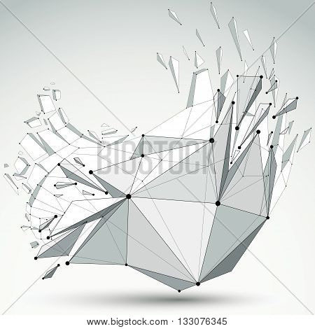 3d vector low poly object with black connected lines and dots geometric wireframe shape with refractions. Asymmetric perspective shattered grayscale form with thread.
