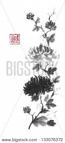 Japanese style original sumi-e dark and light chrysanthemum flower ink painting. Designed as traditional scroll. Hieroglyph featured means sincerity. Great for greeting cards or texture design.