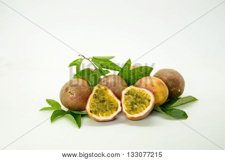 Passion fruit isolated on the white background