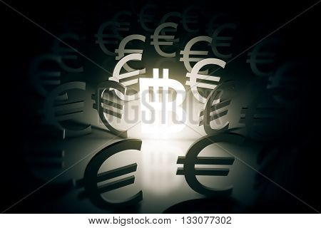 Illuminated bitcoin sign surrounded with euro signs on abstract surface