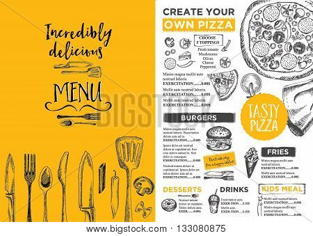 Menu placemat food restaurant brochure menu template design. Vintage creative dinner template with hand-drawn graphic. Vector food menu flyer. Gourmet menu board.