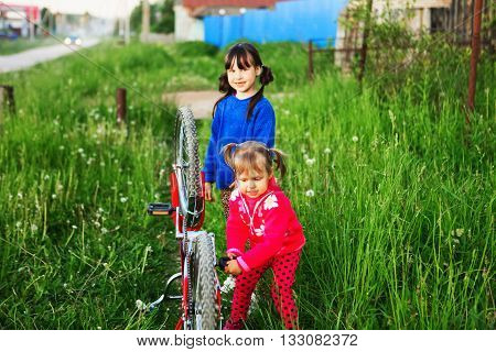 Children Repair Bicycle.