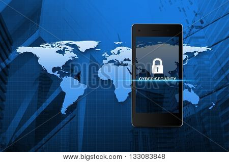 Key icon and cyber security text on modern smart phone screen over map and city tower background Cyber security concept Elements of this image furnished by NASA