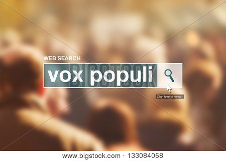 Vox populi web search bar glossary term in internet glossary.