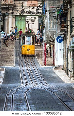 Lisbon Portugal-April 122015:The Bica Funicular (Elevador da Bica or Ascensor da Bica) is a funicular in Lisbon Portugal