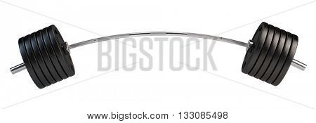 Barbell over white background. 3d render of barbel