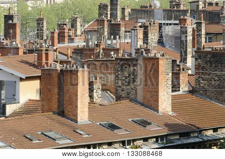 several roofs and chimneys french traditional construction
