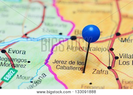 Jerez de los Caballeros pinned on a map of Spain