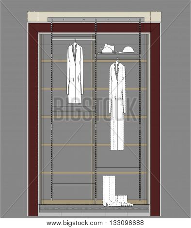 Architectural drawing of Cloakroom cupboard residential interior