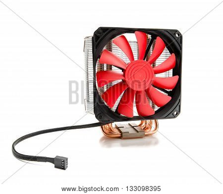 CPU cooler with fan and heat pipe isolated on white background
