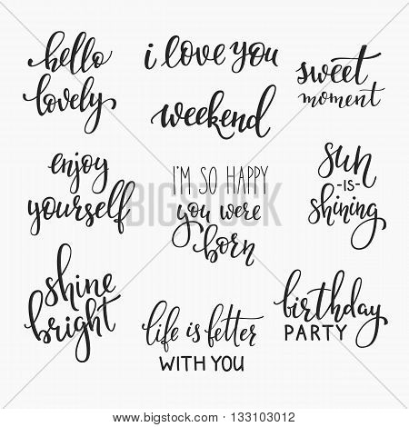 Lettering photography family overlay set. Motivational quote. Sweet cute inspiration typography. Calligraphy postcard poster photo graphic design element. Hand written sign. Wedding Baby photo album