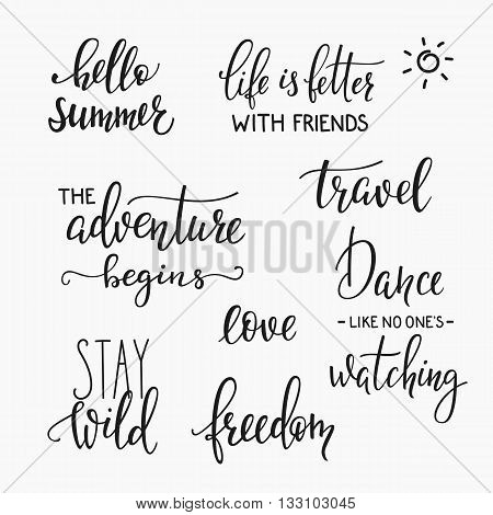 Lettering photography family album overlay set. Motivational quote. Sweet cute inspiration typography. Calligraphy postcard poster photo graphic design element. Hand written sign. Wedding Baby photo