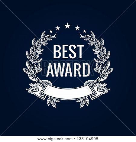 Best award vector laurel wreath sign. Winner label, leaf symbol victory, triumph and success illustration. Best award white laurel label