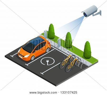 CCTV security camera on isometric illustration of electric car parking. 3d isometric vector illustration