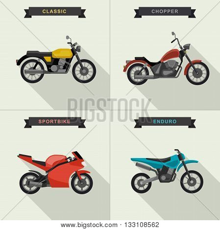 Vector motorcycles set in flat style. Vector illustrations with long shadow.
