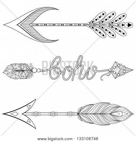 Bohemian  Arrows set with feathers. Hand drawn Arrows set for adult coloring pages, art therapy, ethnic patterned t-shirt print, Boho chic tribal style. Doodle Illustration, henna tattoo design.