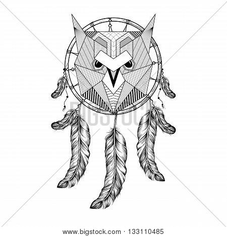 Hand Drawn Zentangle Owl Bird On Dream Catcher With Feathers For Adult Coloring Pages Art