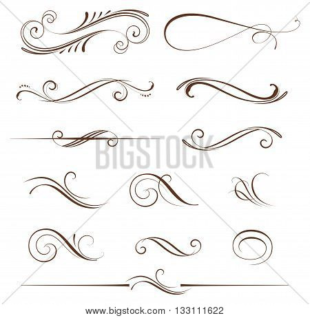 Vector set of ornate calligraphic vintage elements, dividers and page decorations. Use for invitations, gretting cards, banners, posters, placards, badges or logotypes.
