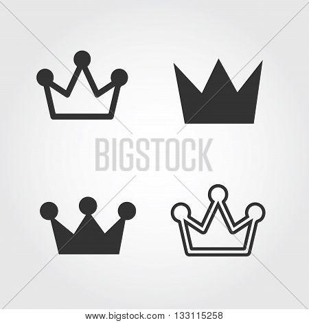 Vector Crown set. icon, flat design, EPS