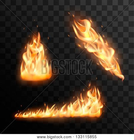 Set of fire. Realistic fire flames vector effect for design.Fire trail vector effect. Burning flame vector illustration. Fire flame with transparency.