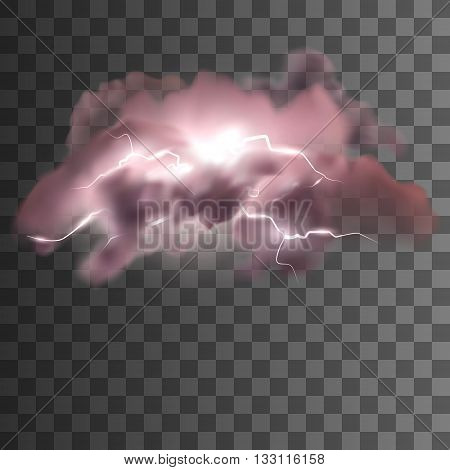 Lightning storm in purple light. Clouds bringing lightnings. Isolated lightnings with transparency. Storm concept. Storm clouds vector illustration for design. Transparent background.