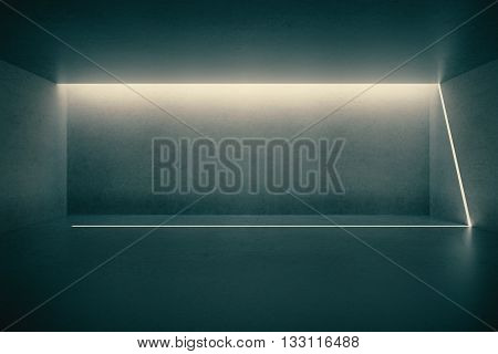 Illuminated empty dark concrete wall in empty room interior. Mock up 3D Rendering