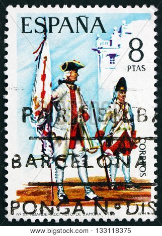 SPAIN - CIRCA 1974: a stamp printed in Spain shows Standard-bearer and Soldier Zamora Regiment 1739 circa 1974