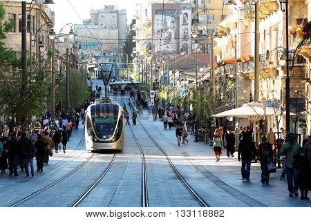 JERUSALEM, ISRAEL, 2 APRIL 2013. Editorial Photograph of Light Rail Tram on Jaffa Street, Jerusalem.  The Jerusalem Light Rail System opened in 2011 after 8 years of construction.
