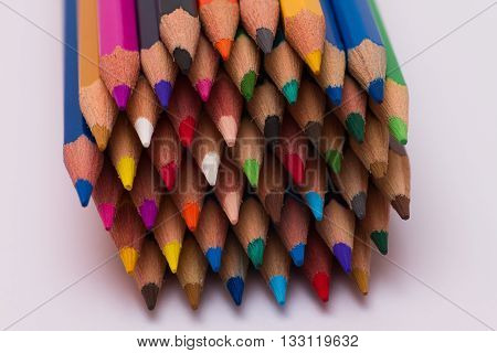 Alot of Color pencils on white background