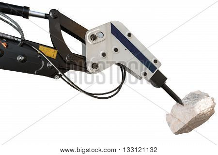 New Construction bulldozer and hydraulic breaker isolated with clipping path poster