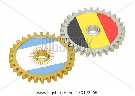 Argentina and Belgium flags on a gears 3D rendering isolated on white background