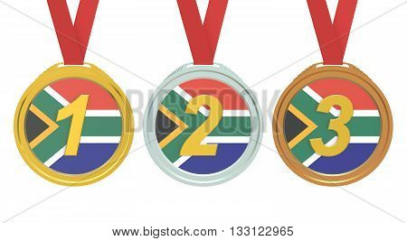 Gold Silver and Bronze medals with South Africa flag 3D rendering