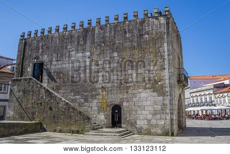 VIANA DO CASTELO, PORTUGAL - APRIL 25, 2016: Old building at the central square in Viana do Castelo, Portugal