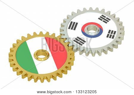 Italy and South Korea flags on a gears 3D rendering isolated on white background