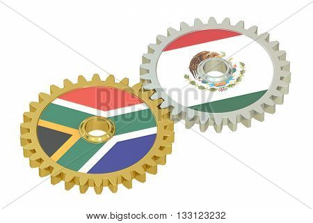 South Africa and Mexico relations concept flags on a gears. 3D rendering isolated on white background