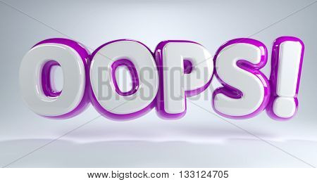 Colorful 3d Oops icon with magenta and white lettering and a shadow floating over a graduated grey background in a panoramic banner. 3d Rendering.