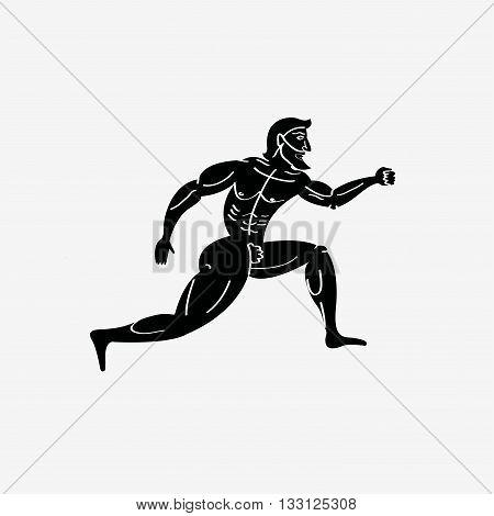 Ancient greek naked athletic runner. Vintage illustration.
